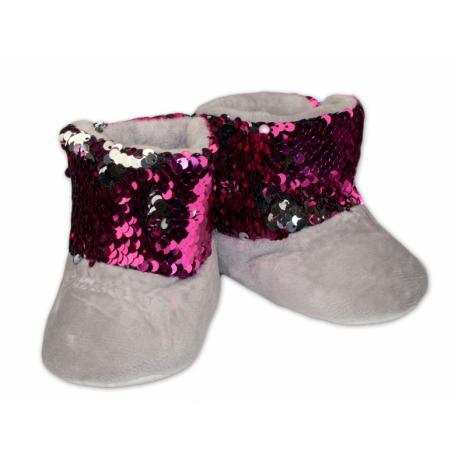 Zimné topánky/šľapky s flitryYO! - sivé, veľ. 12-18 m