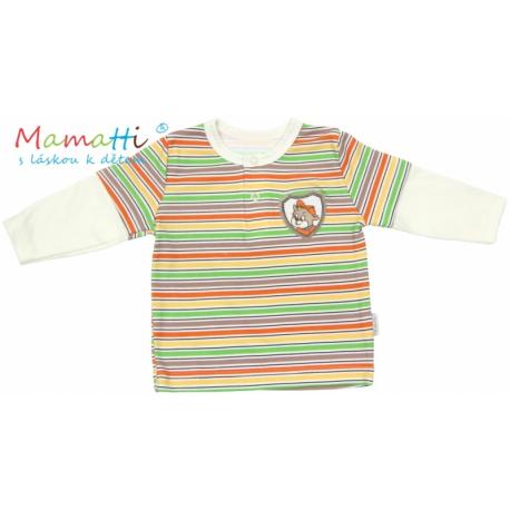 Polo tričko dlhý rukáv Mamatti CAR - krémové/farebné prúžky