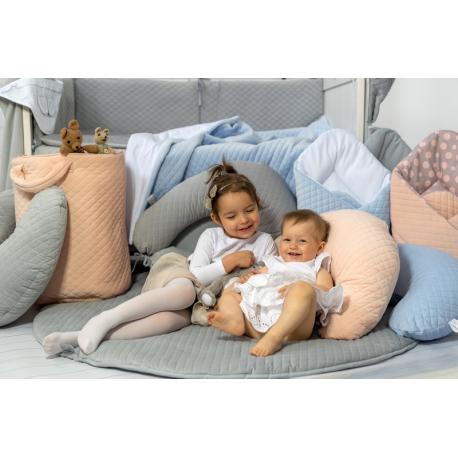 Dojčiace vankúš - relaxačná poduška 175 cm,Velvet lux Miminu, prešívaný - modrý