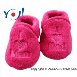 654713835bef3 Topánočky / ponožtičky I LOVE - tmavo růžová
