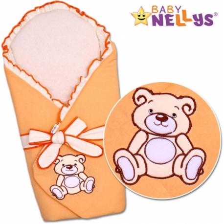 Zavinovačka s výztuží Baby Nellys - Medvídek Teddy - jersey - lososová