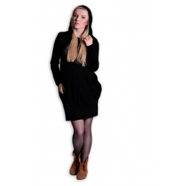 Športové tehotenské šaty s kapucňou - čierne