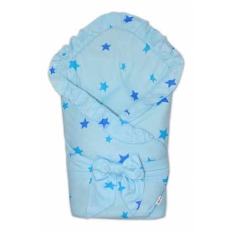 Rýchlozavinovačka 80x80cm s volánikom a stuhou - Baby stars - modrá