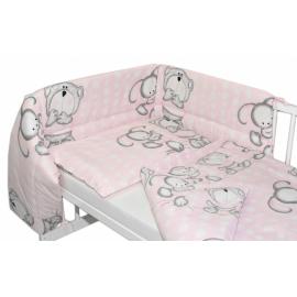Mantinel s obliečkami Macko s zajačikom Bubble Baby Nellys - ružový