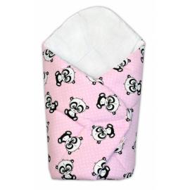 3-dielna sada mantinel s obliečkami 135x100 + zavinovačka zadarmo - Baby Panda, ružová