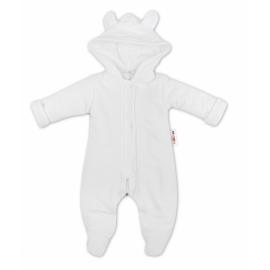Oteplenie overal / kombinézka s kapucňu a uškami Baby Nellys ® - biely, veľ. 68