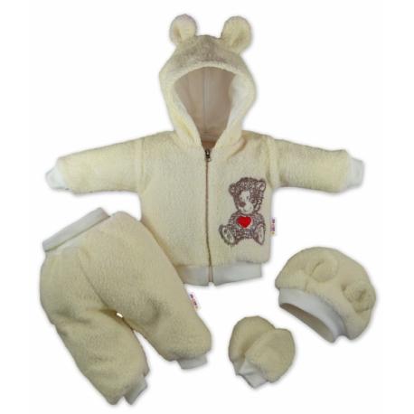 Chlupáčkový komplet 5-ti dílný komplet Teddy - krémový