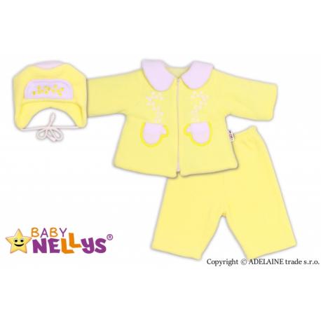 Kabátik, čiapočka a nohavice Baby Nellys ® - krémovo žltá