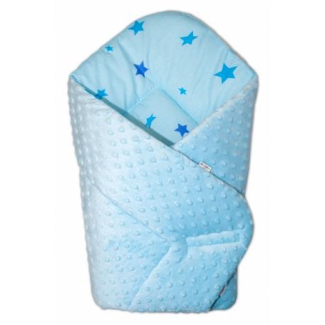 Obojstranná zavinovačka 75x75cm Minky - hviezdičky modré - sv. modrá