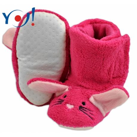 Zimné topánky/Šľapky polár YO! - králiček - malinové