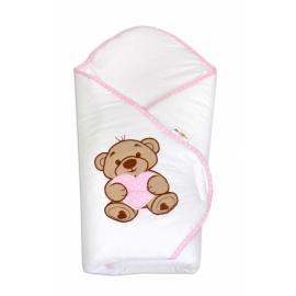 Zavinovačka s výšivkou Baby Nellys ®- Medvedík so srdiečkom - ružový lem