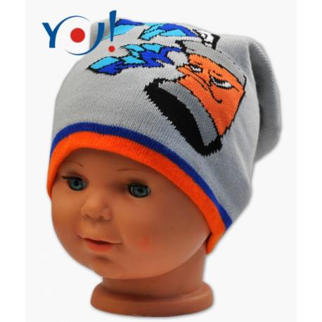 Jesenná čiapočka YO! Grafitti - sv. sivá/oranžový lem