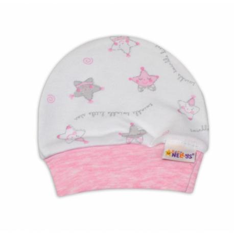 Čiapočka pre predčasne narodené bábätká Baby Nellys ®- Hvezdičky ružové