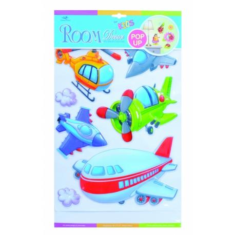 Detské samolepky na stenu POP UP - lietadla
