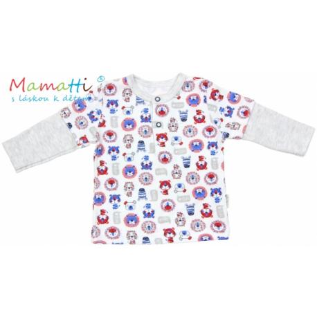 Tričko dlhý rukáv Mamatti - LION - sivý melír / potlač lion