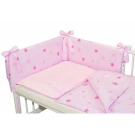 3- dielná sada mantinel s obliečkami Minky hviezdičky ružové - sv. ružová