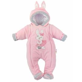 Oteplený overal / kombinéza s uškami, vel. 74 - Little Bunny, sv. ružový