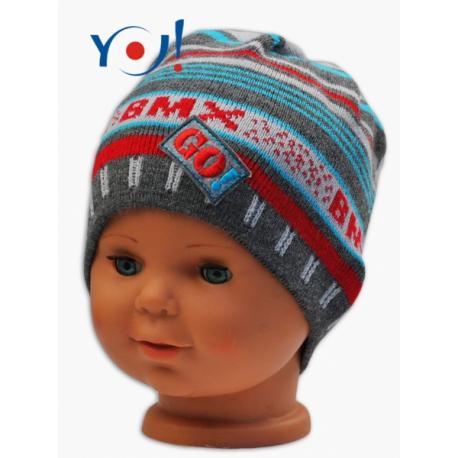Jesenná čiapočka YO! BMX - sivá/modré- červené prúžky