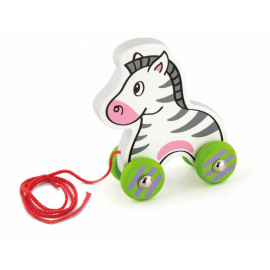 Edukačná drevená hračka 15,5 cm ťahacia - Zebra