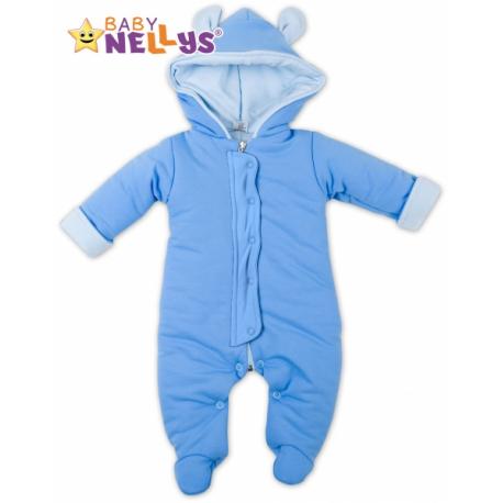 Oteplenie overal / kombinézka s kapucňu a uškami Baby Nellys ® - modrý, veľ. 68