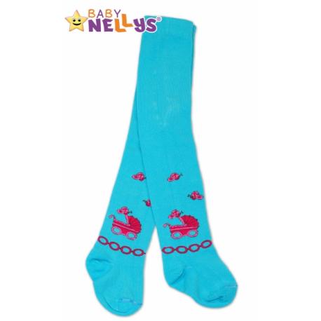 Bavlnené pančucháče Baby Nellys ® - Kočík - modré, veľ. 92/98