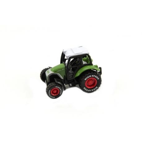 Traktor kov / plast 9cm na spätný chod asst 4 farby 6ks v boxe.