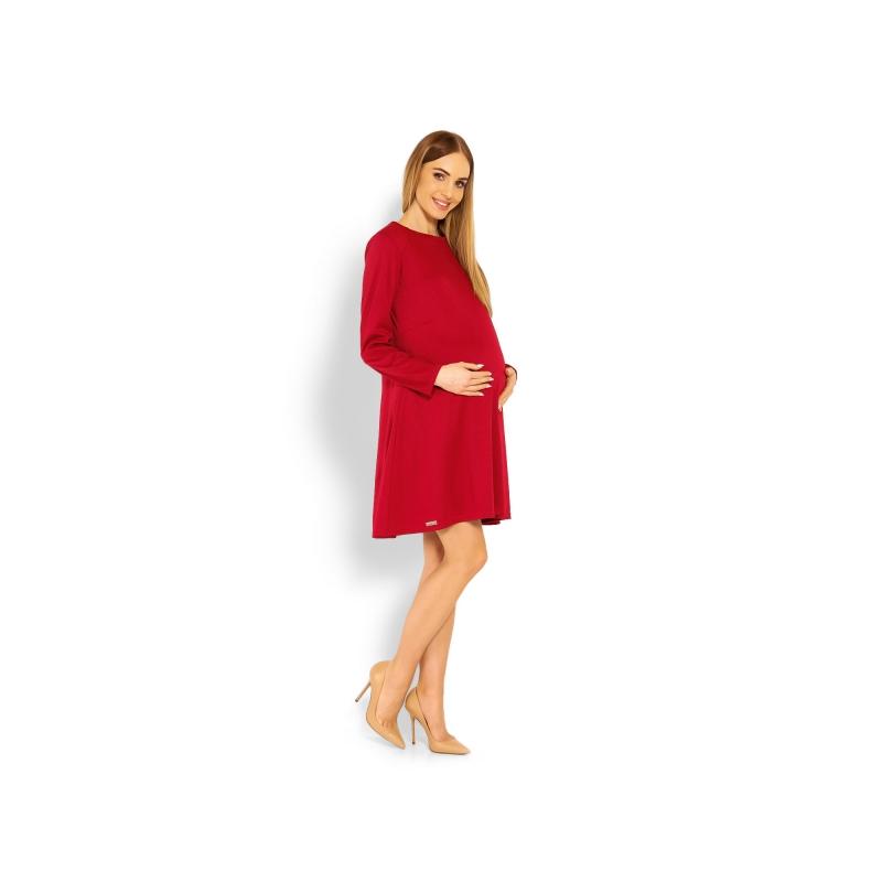 dcfc6ac9c67d Elegantné voľné tehotenské šaty dl. rukáv - bordo