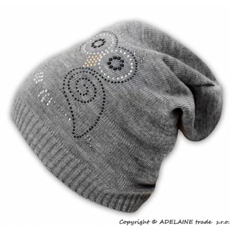 Jarné / jesenné čiapky Malá sova - sivý melírek
