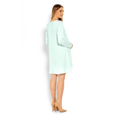 47c4a2f0ad80 Elegantné voľné tehotenské šaty dl. rukáv - mátová