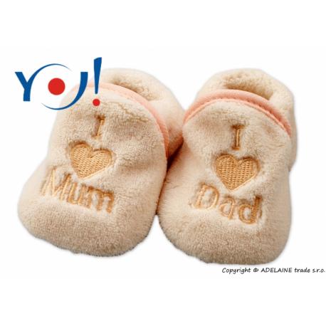 Topánočky / ponožtičky I LOVE - svetlo béžové