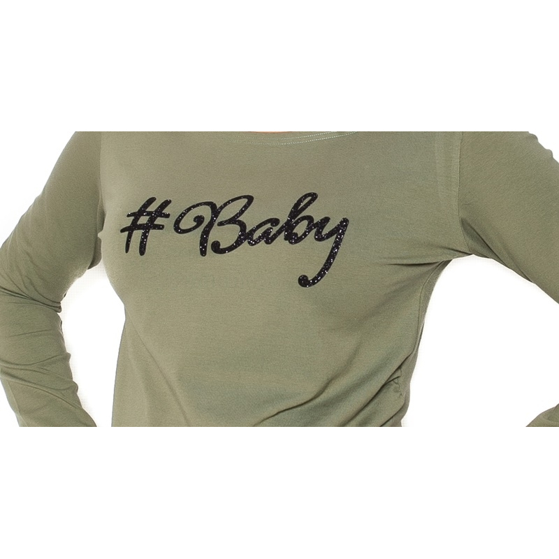 10ce09c5cfb Tehotenské tričko dlhý rukáv Baby - khaki