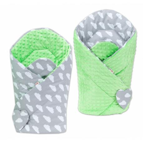 Obojstranná zavinovačka Minky Baby - Mráčky biele na šedom /zelená
