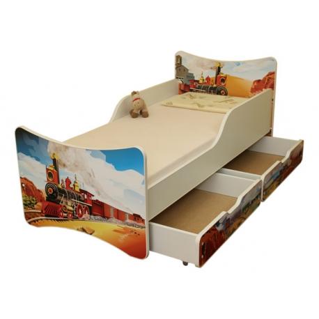 Detská posteľ so zábranou a šuplík/y Vlak, 180x90 cm