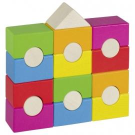 Farebná drevená veža - domček
