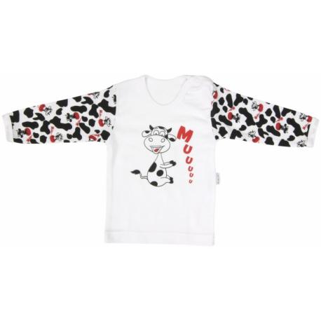 Bavlnené tričko Mamatti Kravička - dlhý rukáv