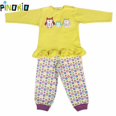Pyžamko Pinokio - žltá / kostička alebo prúžok