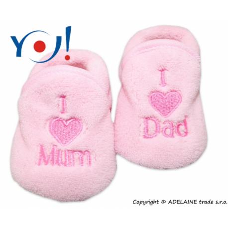 Topánočky / ponožtičky I LOVE - svetlo ružová