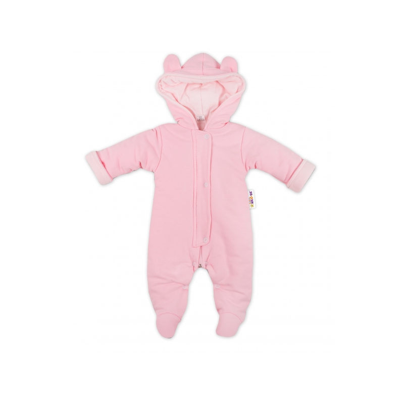 110c574b4 Oteplenie overal / kombinézka s kapucňu a uškami Baby Nellys ® - ružový,  veľ. 68