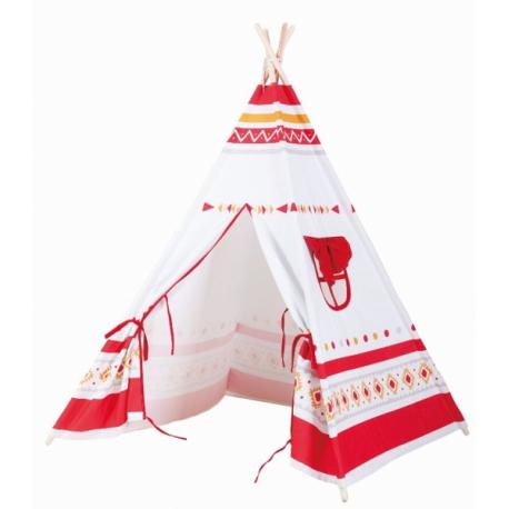 Stan pre deti teepee, típí - bílý,červený