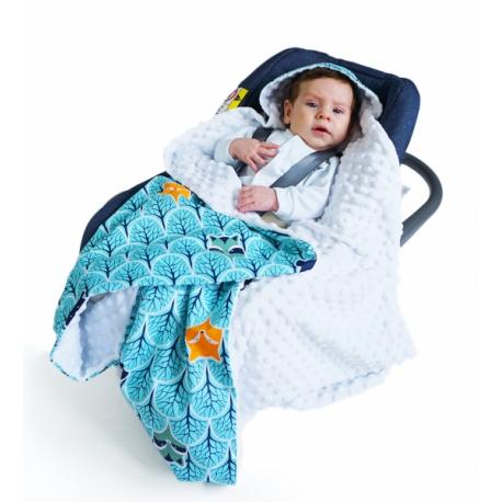 Luxusná bavlnená dečka 3v1 s Minky, 90 x 90 cm, troúholníčky, Minky - biela