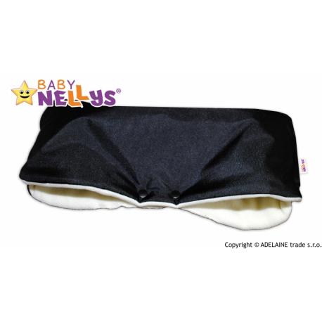 Rukávnik ku kočíka Baby Nellys ® flees - čierny / smotana