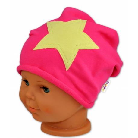 Bavlnená čiapočka s hviezdou Baby Nellys ® - malinová