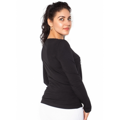 f06a4c8b7560 Tehotenské tričko dlhý rukáv Kiss - čierné