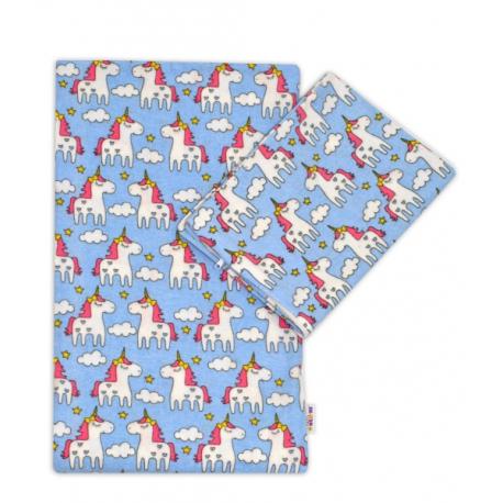 Flanelové obliečky 135x100 - Jednorožec vo sv. modré