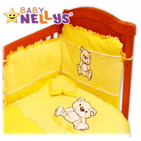 Obliečky do postieľky 2D Teddy - jersey - žltý