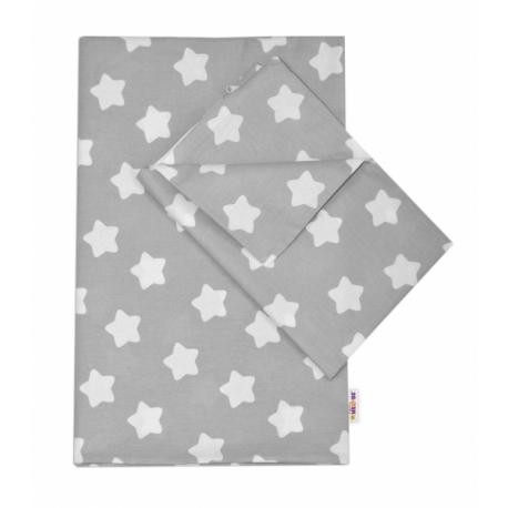 Bavlnené obliečky 140 x 200/70x80 - Sweet Stars - sivá