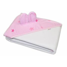 Detská termoosuška s uškami Baby Stars s kapucňou, 100 x 100 cm - biela, ružové hviezdy