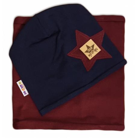 Bavlnená sada čiapočka a nákrčník Nelly Star - tm.modrá s bordo