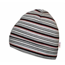 Bavlnená čiapočka Baby Nellys ® - Prúžky bielo, šedé, červené
