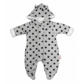 Kombinézka s kapucňu a uškami Hvezdičky Baby Nellys ®- sivá/tm. modrá, veľ. 74